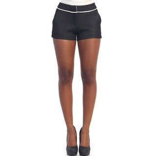 Hadari Women's Black Mesh Dress Shorts