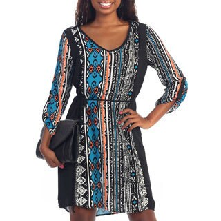 Hadari Women's Black Tribal Print Shift Dress