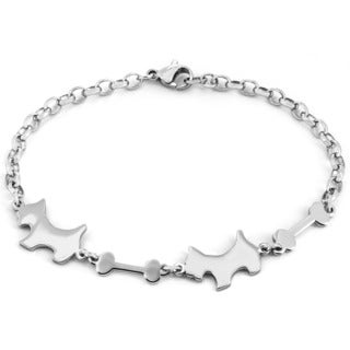 Stainless Steel Laser-cut Dog and Bone Bracelet