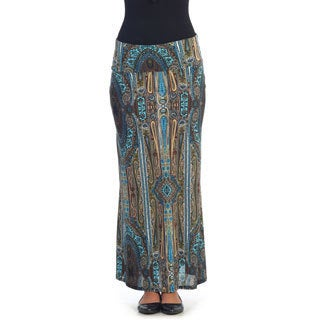 Hadari Women's Brocade Print Multicolor Maxi Skirt