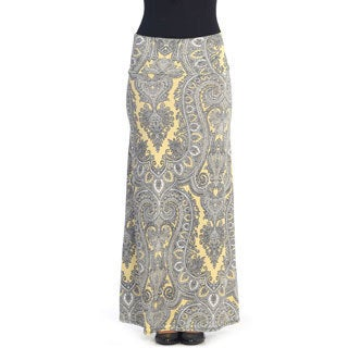 Hadari Women's Yellow Brocade Maxi Skirt