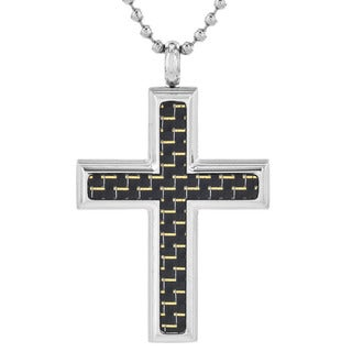 Crucible Stainless Steel Men's Yellow and Black Carbon Fiber Cross Pendant Necklace