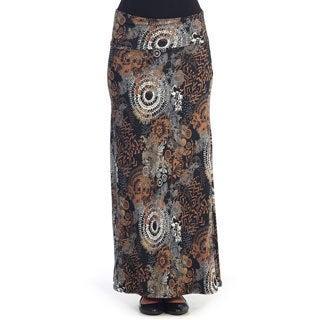 Hadari Women's Black/ Brown Floral Geometric Maxi Skirt