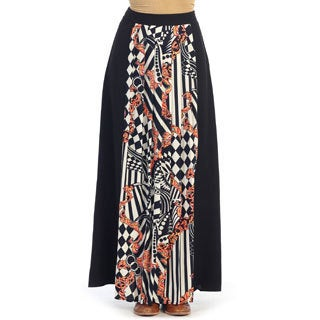 Hadari Women's Black/ White Abstract Maxi Skirt