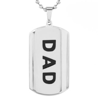 High Polish Stainless Steel Men's 'DAD' Dog Tag Pendant Necklace