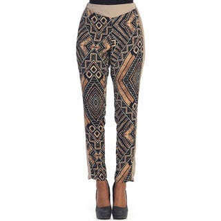 Hadari Women's Black/ Brown Tribal Straight Pants