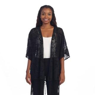 Hadari Women's Black Sheer Floral Knit Open Cardigan
