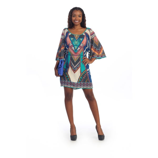 Hadari Women's Multi-colored Tribal Waist-tie Dress