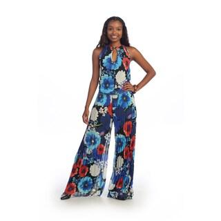Hadari Women's Blue Floral Keyhole Halter Jumpsuit