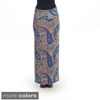 Hadari Women's Blue/ Red Paisley Maxi Skirt