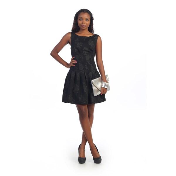Hadari Women's Black Floral Fit and Flare Dress