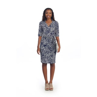 Hadari Women's Blue Abstract Circle Print Sheath Dress