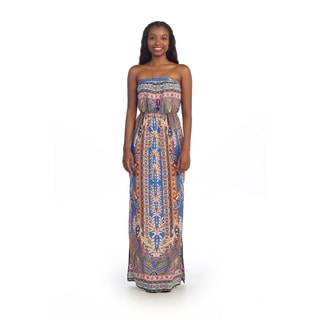 Hadari Women's Contemporary Strapless Paisley Maxi Dress