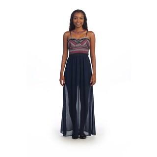 Hadari Women's Black Tribal Sheer Maxi Dress