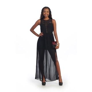 Hadari Women's Black Floral Lace Sheer Maxi Dress