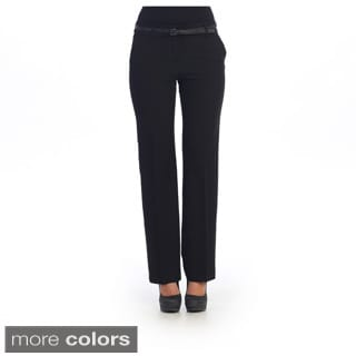 Hadari Women's Black Slim Fit Slack Pants