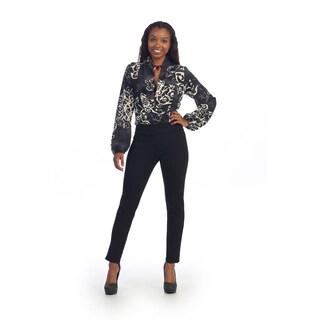 Hadari Women's Black Multi-print Jumpsuit