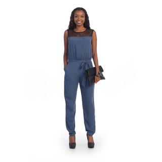 Hadari Women's Blue Lace Insert Jumpsuit