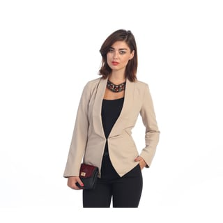 Hadari Women's Beige Single-button Blazer
