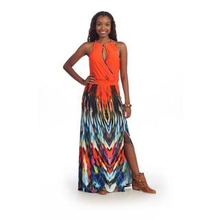 Hadari Women's Orange Geometric Halter Maxi Dress