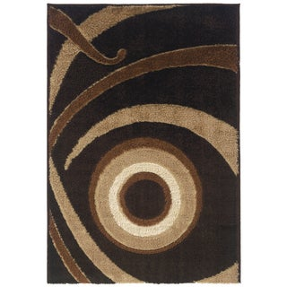 Spangles Shag Focus Coffee Area Rug (6'7 x 9'10)