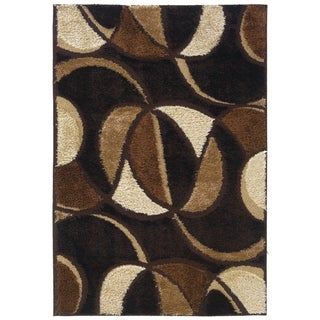Spangles Shag Envy Coffee Area Rug (6'7 x 9'10)