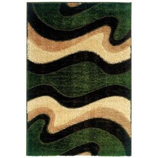 Spangles Shag Shimmer Green Area Rug (6'7 x 9'10)