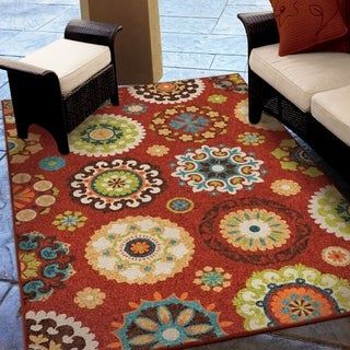 Indoor/ Outdoor Promise Salsalito Red Rug (5'2 x 7'6)