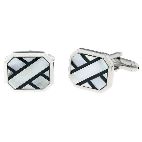 Stainless Steel Men's Shell Accent X-style Cuff Links