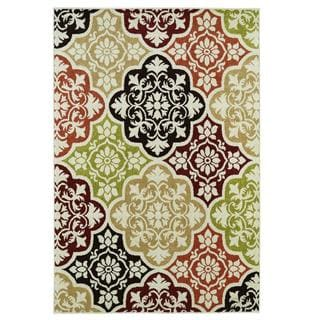 Indoor/ outdoor Baroque Multi Area Rug (5' x 7'3)