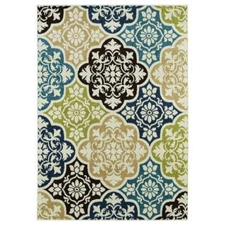 Indoor/ Outdoor Blue Multi Baroque Area Rug (5' x 7'3)