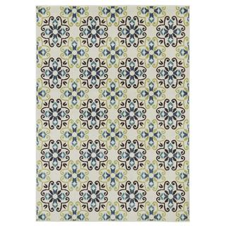 Indoor/ Outdoor Blue/ Green Block Print Area Rug (5' x 7')
