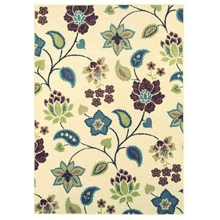 Indoor/Outdoor Beige Floral Area Rug (5' x 7')
