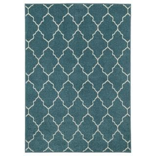 Indoor/outdoor Blue Trellis Area Rug (5'2 x 7'3)