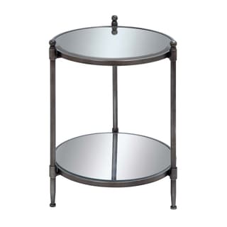 Bourges 24-inch Round Mirrored Metal Accent Table