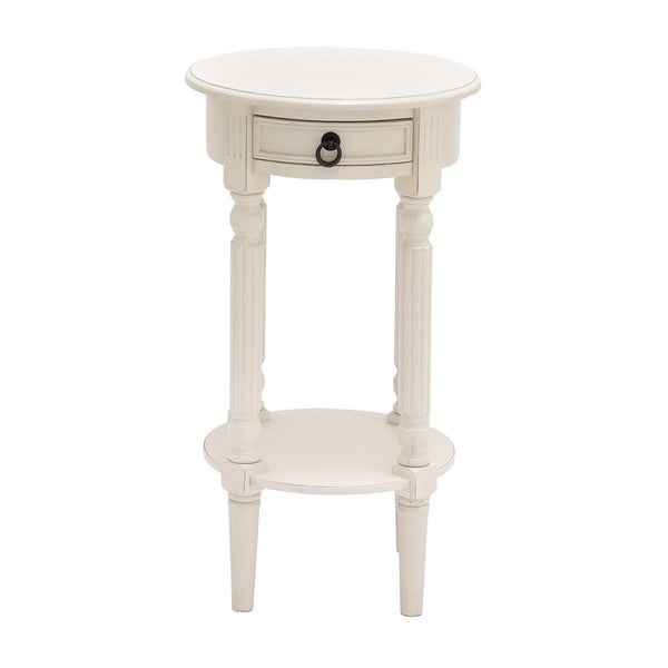 Niort White Round Wood Accent And End Table 16515174