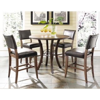 Cameron 5-piece Counter Round Wood Dining Set with Parson Stools
