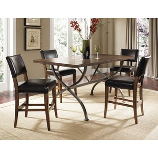 Cameron 5-piece Counter Height Rectangle Wood Dining Set with Parson Stools