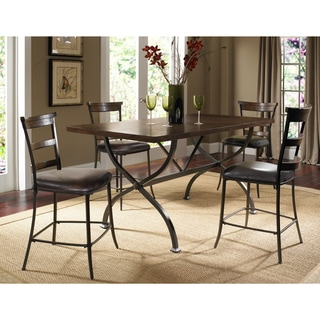 Cameron 5-piece Counter Rectangle Wood Dining Set with Ladderback Stools