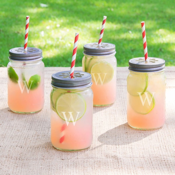 Personalized Mason Jars with Lids and Decorative Straws