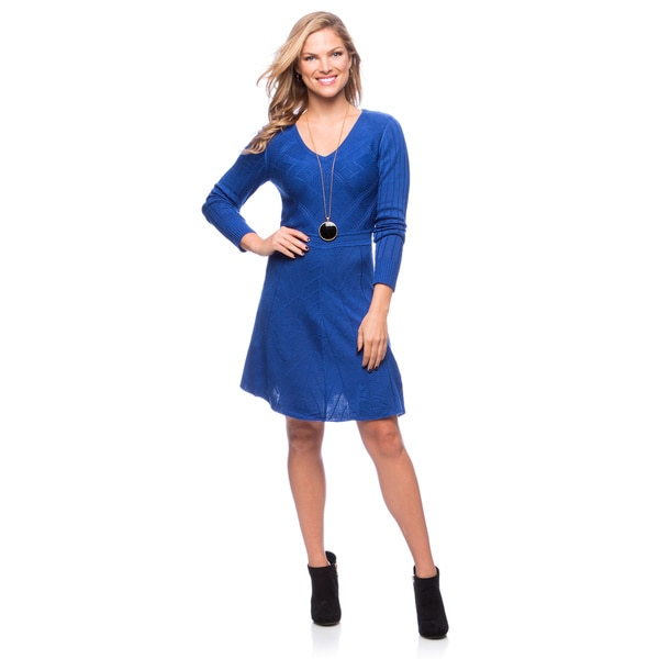 Jessica Simpson Long Sleeve Fit-N-Flare Sweater Dress