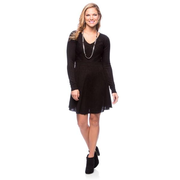 Jessica Simpson Black Long Sleeve Fit-N-Flare Sweater Dress