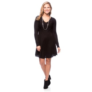 Jessica Simpson Black Long Sleeve Fit-N-Flare Sweater Dress