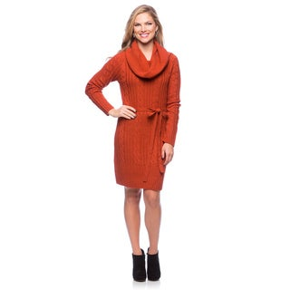 Jessica Simpson Long Sleeve Raglan Sweater Dress with Front Pocket and Tie Waist