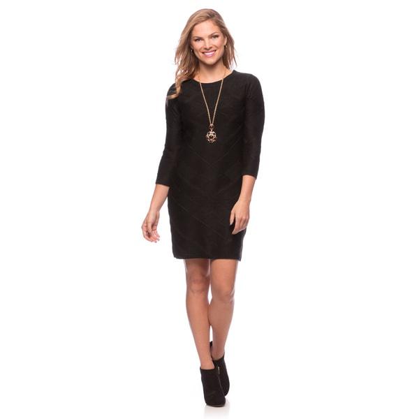 Jessica Simpson Women's Black 3/4-sleeve Straight Sweater Dress