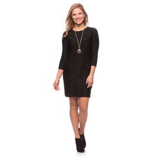 Jessica Simpson Women's Black 3/4-sleeve Straight Sweater Dress