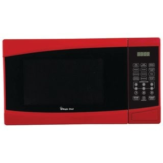 Magic Chef Red 0.9 Cubic Feet 900-watt Microwave with Digital Touch