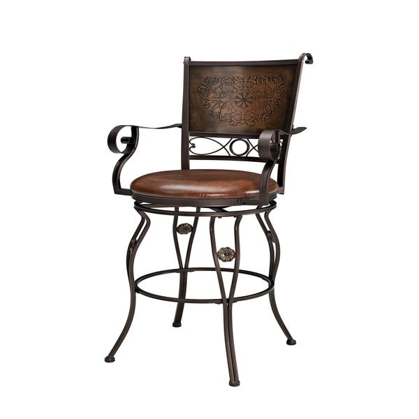 Powell Big And Tall Copper Stamped Back Bar Stool With Arms