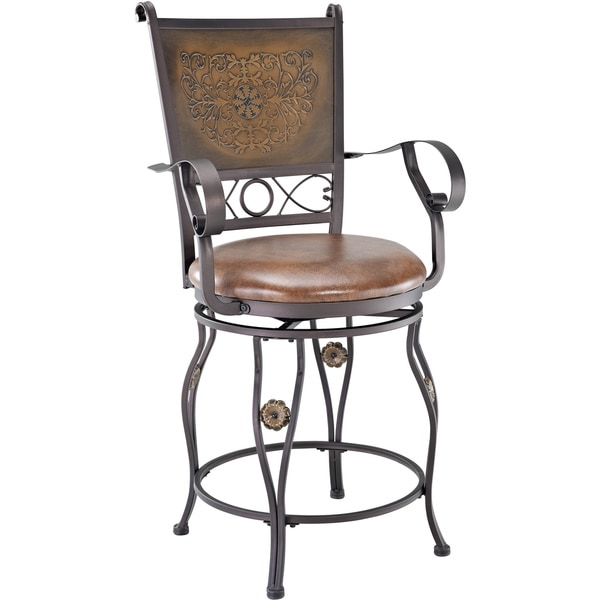 Powell Big And Tall Copper Stamped Back Bar Stool With