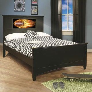 LightHeaded Beds Satin Black Canterbury Full Bed with Back-lit LED Headboard Imagery